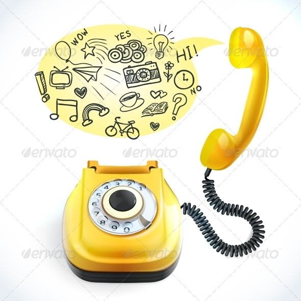 GraphicRiver Telephone Old Doodle 7921843