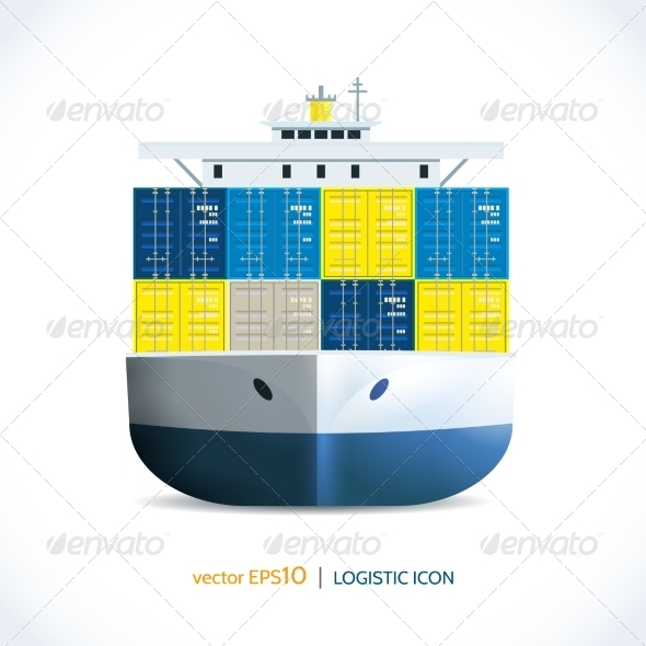 GraphicRiver Logistic Icon Container Ship 7921854