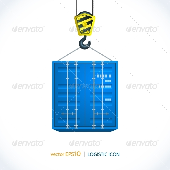 GraphicRiver Logistic Icon Crane Hook Container 7921862
