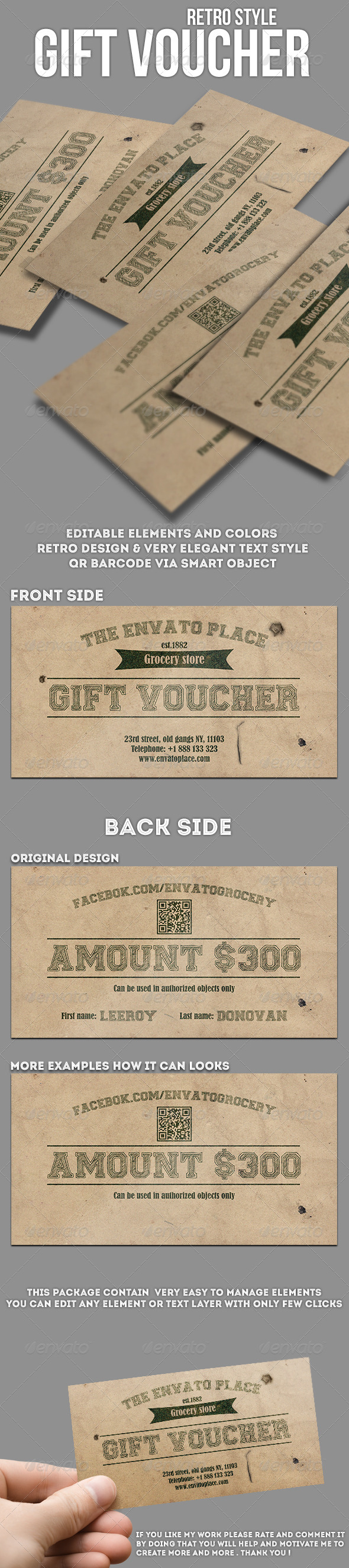 GraphicRiver Grocery retro style gift voucher 7922100