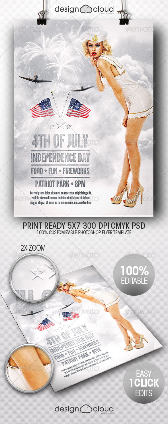 GraphicRiver July 4 Independence Day Minimal Flyer Template 7922211