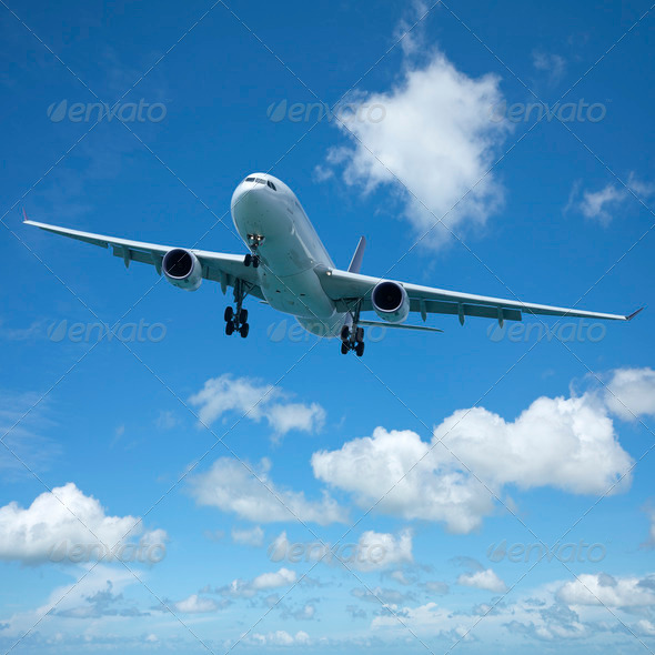 Jet plane in flight - Stock Photo - Images