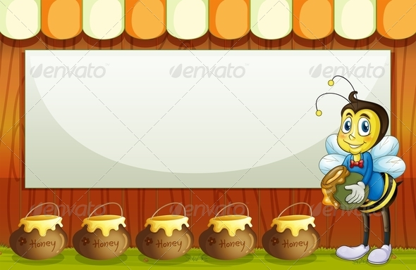 GraphicRiver Bee with a Pot Standing in Front of an Empty Sign 7924903