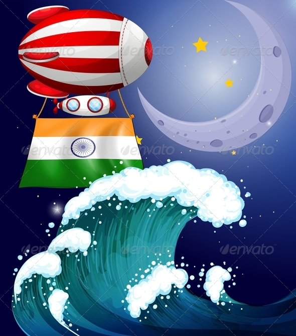 GraphicRiver A Balloon with the Flag of India above the Giant Wave 7925042