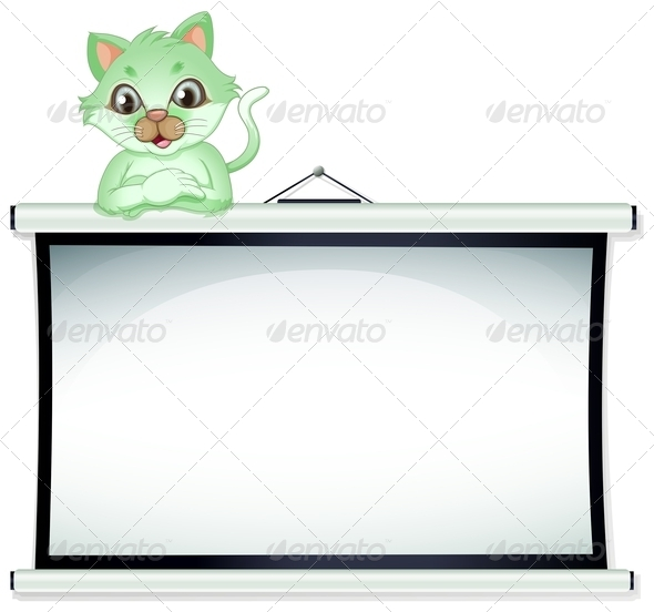 GraphicRiver A Green Cat Above the Whiteboard 7925477
