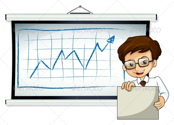 GraphicRiver A Happy Businessman in Front of the Whiteboard 7925480
