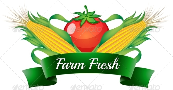 GraphicRiver A Farm Fresh Label with Sweetcorns and a Tomato 7925565