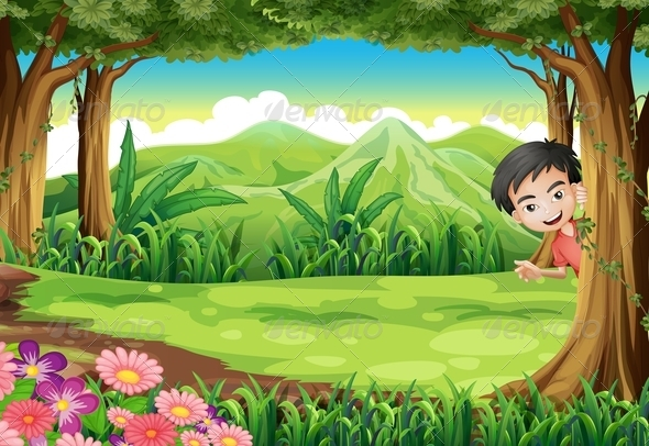 GraphicRiver A Smiling Boy Playing Hide and Seek at the Forest 7925614