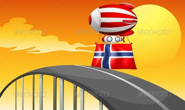A Floating Balloon Travelling with the Flag of Norway