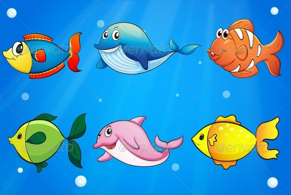 GraphicRiver Six Colorful and Smiling Fishes Under the Sea 7925676