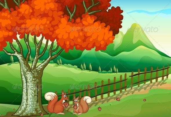 GraphicRiver Two Squirrels Under the Big Tree 7925688