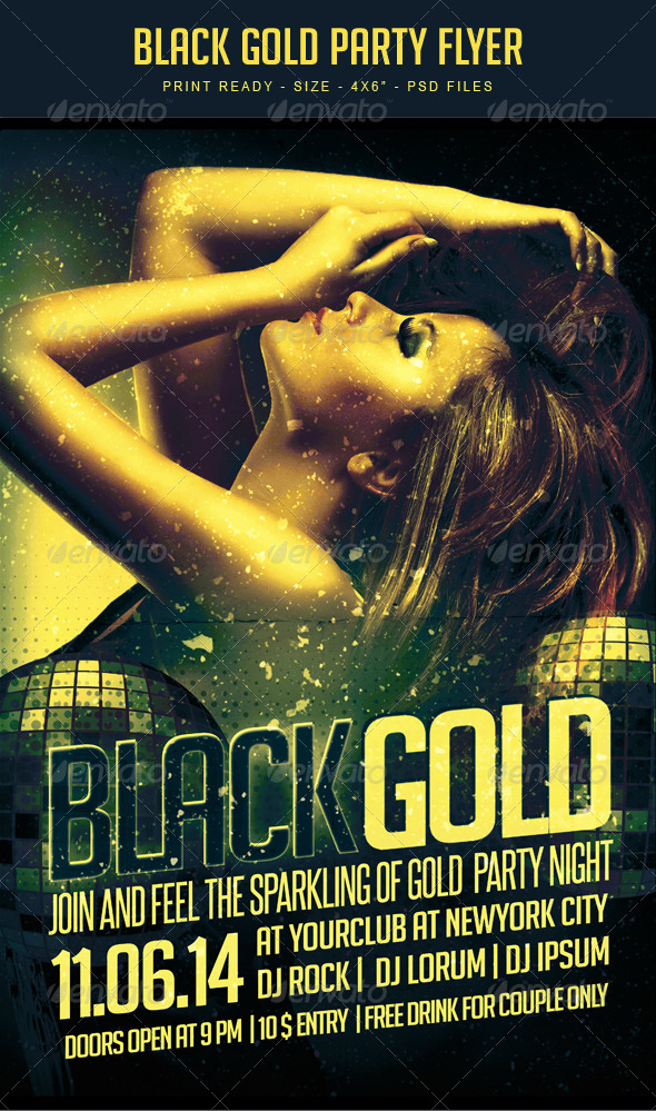 GraphicRiver Black gold party Flyer Template 7925689