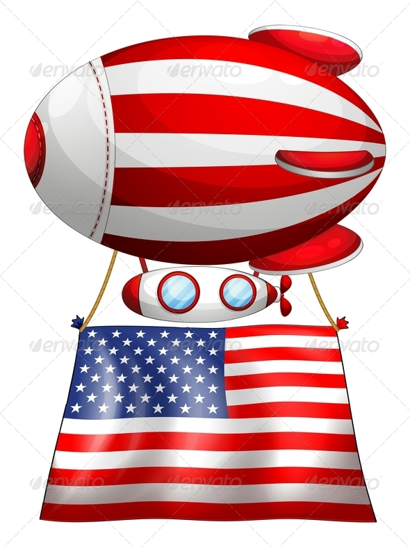 GraphicRiver A Floating Balloon with the American Flag 7925695