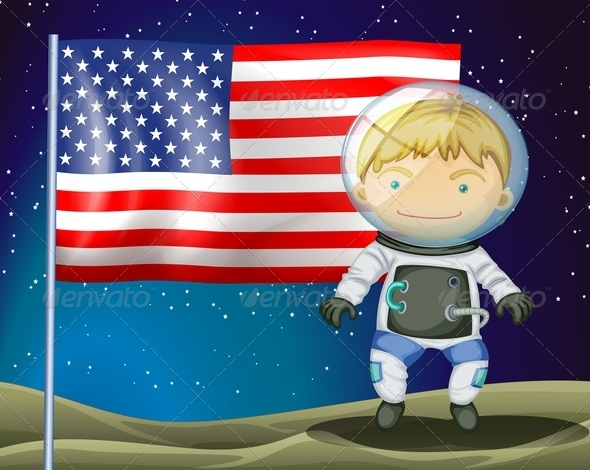 GraphicRiver An Explorer Beside the Flag of America 7925714