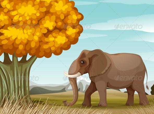 GraphicRiver A Big Brown Elephant Near the Big Tree 7925718