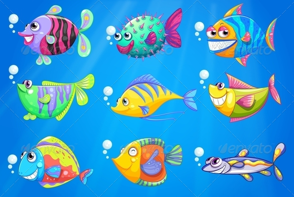 GraphicRiver Nine Colorful Fishes Under the Sea 7925720