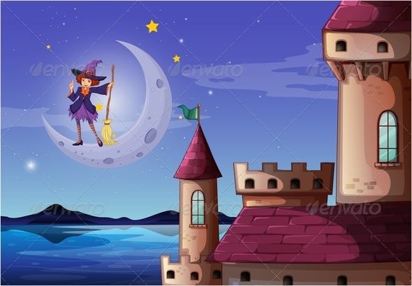 GraphicRiver Witch and Broomstick Castle Scene 7925730