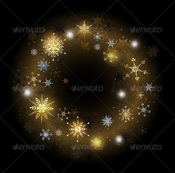 GraphicRiver Golden Snowflakes on Black Background 7925750