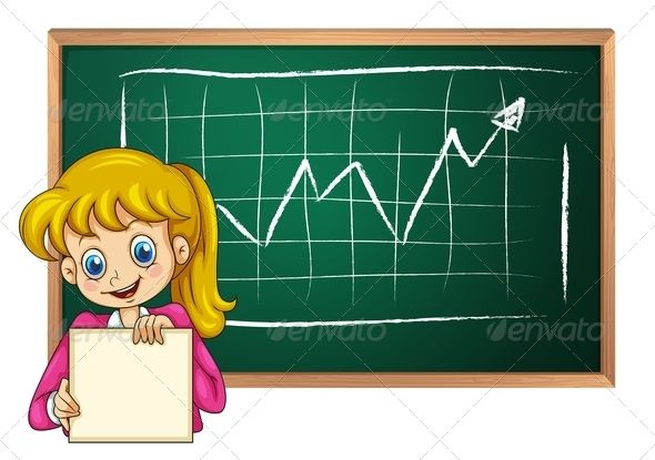 GraphicRiver Smiling Girl with Empty Signage and Board 7925763