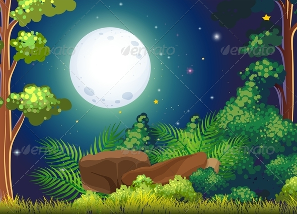 GraphicRiver Forest with fullmoon 7925794