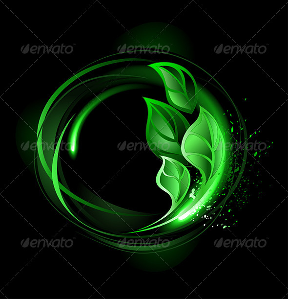 GraphicRiver Round Banner with Green Leaves 7925816