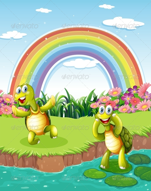 GraphicRiver Two Playful Turtles with Rainbow 7925826