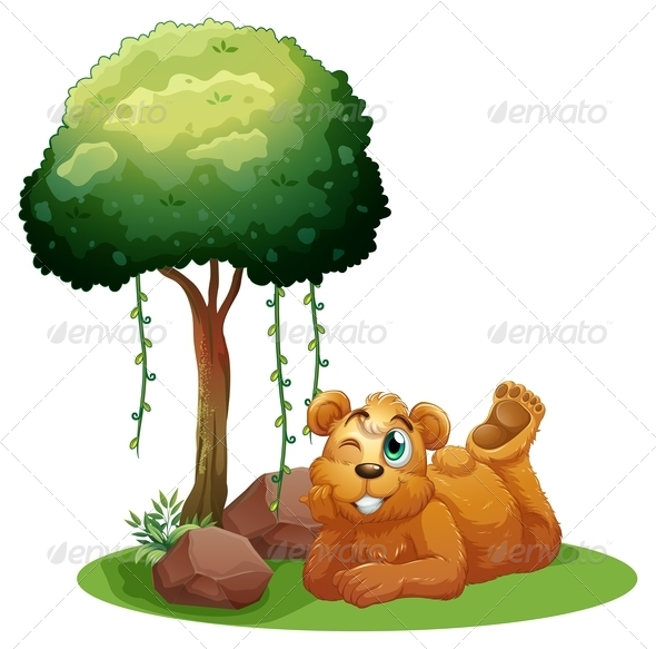 GraphicRiver Brown Bear under the Tree 7925843