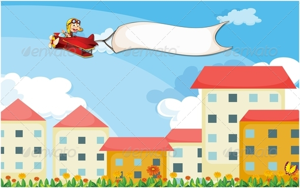 GraphicRiver Plane with Empty Banner Above Houses 7925944