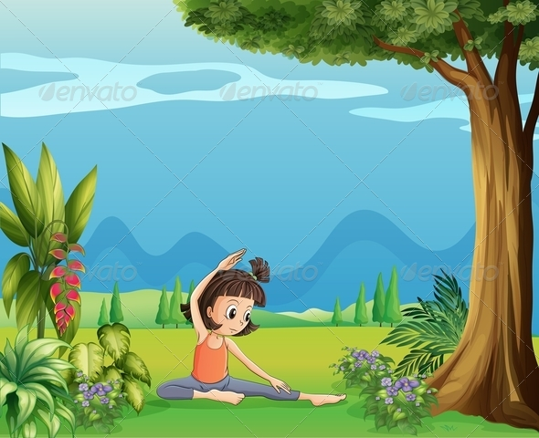 GraphicRiver Girl Doing Yoga under Tree 7925952