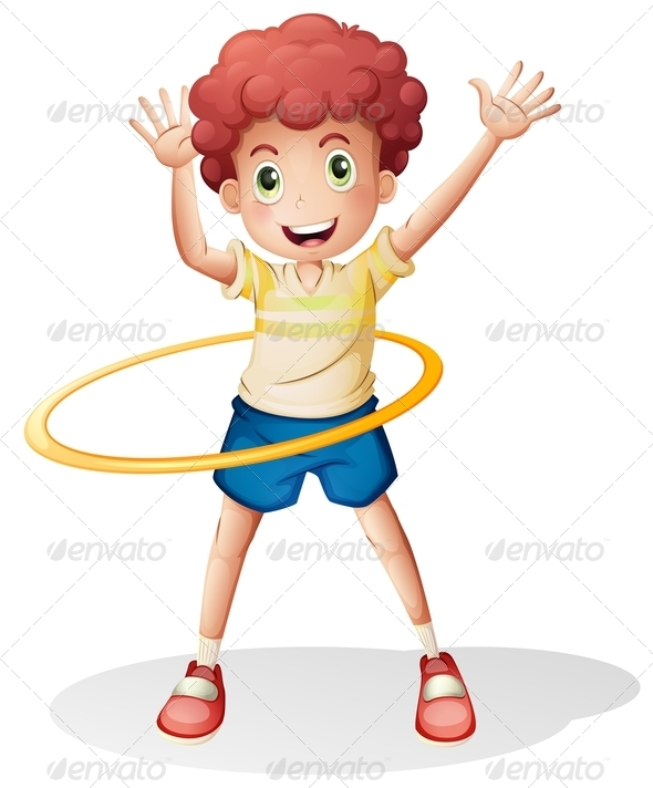Boy Playing with Hulahoop