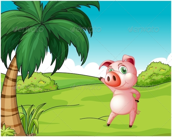 GraphicRiver Pig Under Coconut Tree 7925955