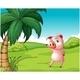 Pig Under Coconut Tree - GraphicRiver Item for Sale