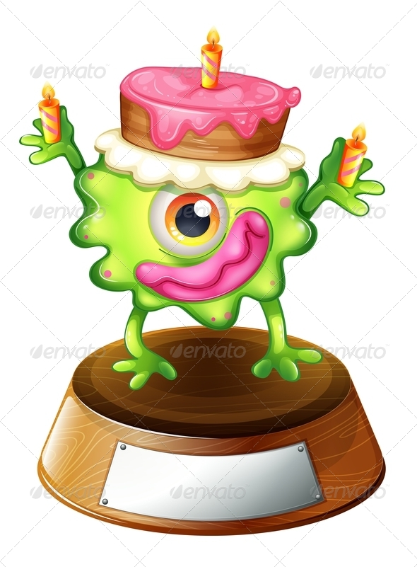 GraphicRiver Monster on Trophy Stand with Cake 7925976