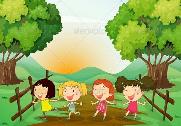 GraphicRiver Four Girls Playing Outdoor 7925978
