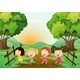 Four Girls Playing Outdoor - GraphicRiver Item for Sale