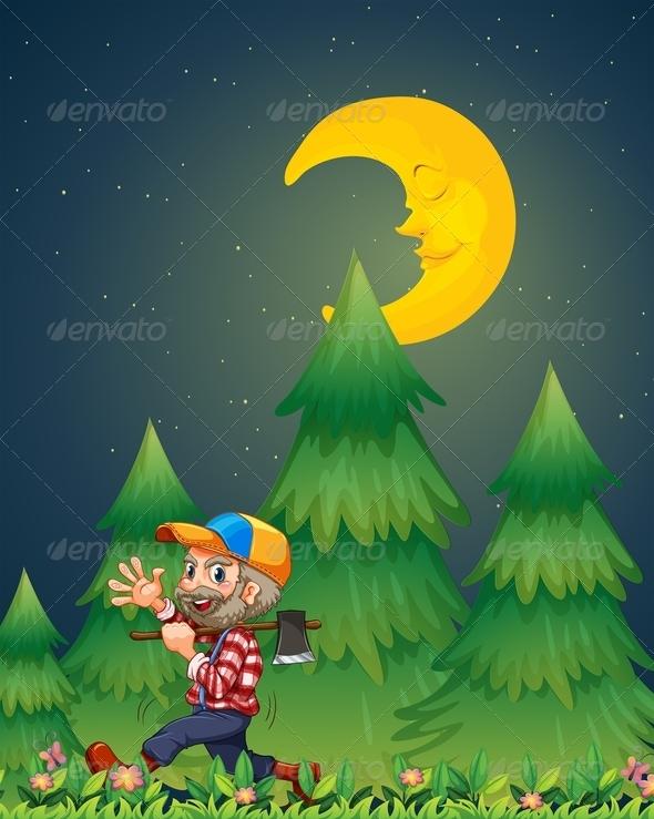 Lumberjack Walking with Axe at Night