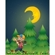 Lumberjack Walking with Axe at Night - GraphicRiver Item for Sale