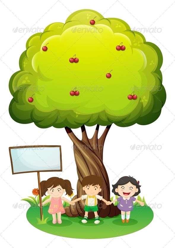 GraphicRiver Kids Under Tree with a Sign 7925999