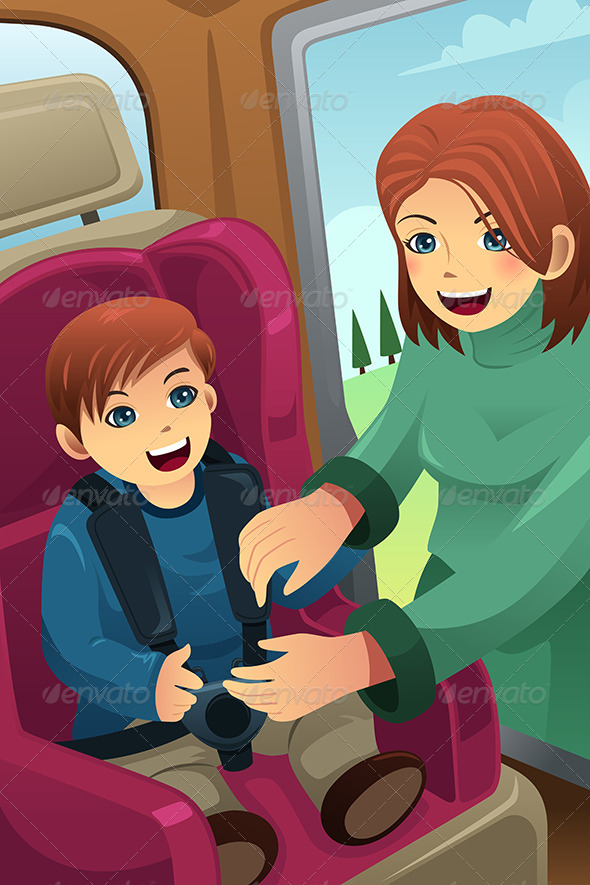 GraphicRiver Mother Putting on Seatbelt for her Son 7926011
