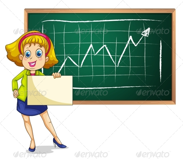 Businesswoman with Blank Paper and Blackboard