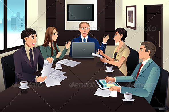 GraphicRiver Business Team Meeting in a Modern Office 7926017