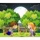 Kids Watching Blossom  - GraphicRiver Item for Sale
