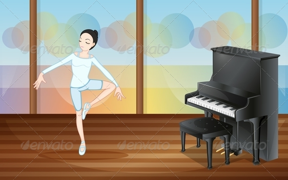 GraphicRiver Ballet Dancer in Studio with Piano 7926021