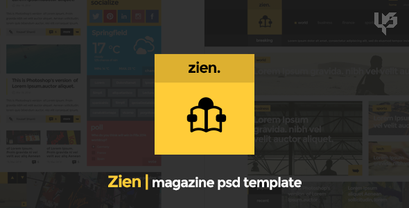 ThemeForest Zien Magazine PSD Template 7902058