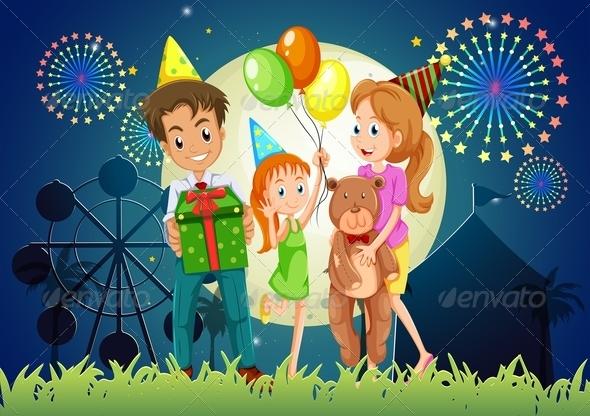 GraphicRiver Family Celebrating at Night Carnival 7926026