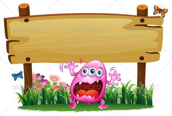 GraphicRiver Scared Monster under a Wooden Signboard 7926119