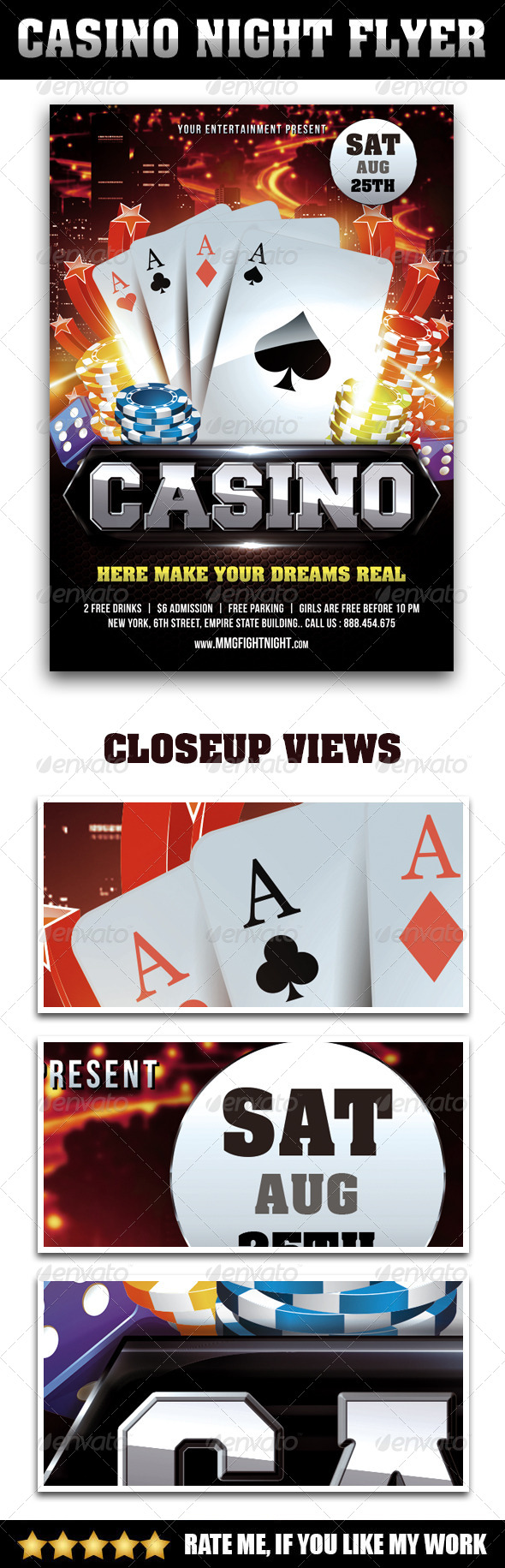 GraphicRiver Casino Night Flyer 7926490