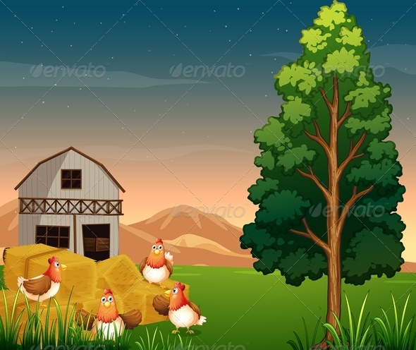 GraphicRiver Group of Chickens at the Farm 7926498