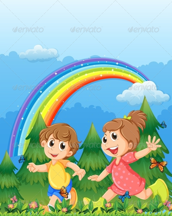 GraphicRiver Kids Playing in Garden with Rainbow 7926540