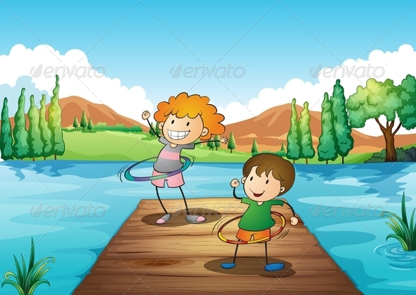 GraphicRiver Two Kids Playing Hulahoop at the River 7926546